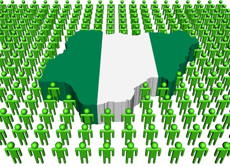 nigeria: Nigeria map flag surrounded by many people