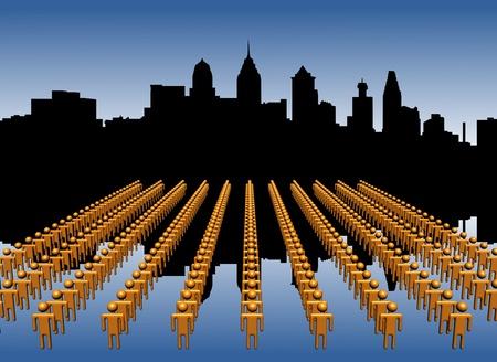 philadelphia: Philadelphia skyline reflected with workers
