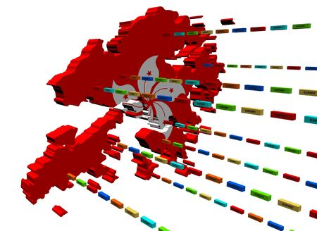 Hong Kong map with lines of export containers Stock Photo - 8516956