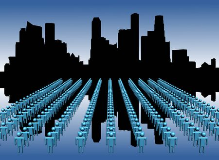 singapore skyline: Singapore skyline reflected with lines of workers illustration