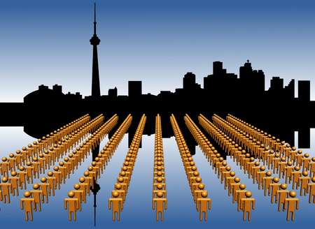 Toronto skyline reflected with workers illustration illustration