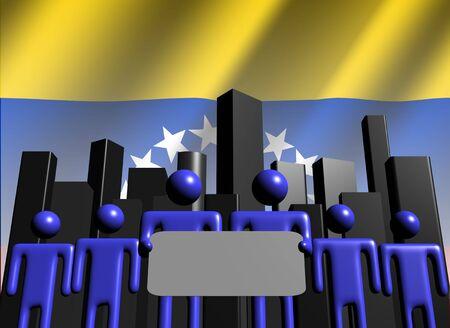 venezuelan: Venezuelan business team with skyline illustration Stock Photo