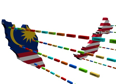 Malaysia map with lines of export containers photo
