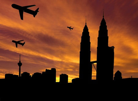 planes departing Kuala Lumpur at sunset illustration illustration