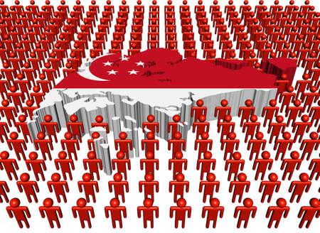 poblacion: Bandera de mapa de Singapur con muchas de las personas de ilustraci�n Editorial
