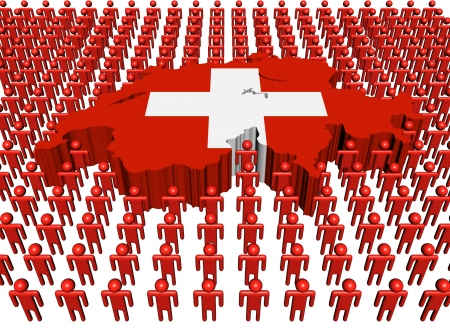 swiss: Swiss map flag surrounded by many people illustration