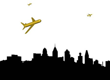 departing: abstract planes departing Philadelphia illustration Stock Photo