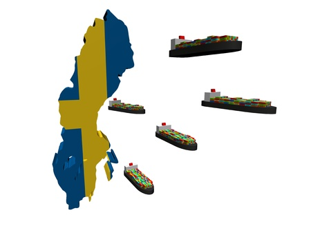 swedish: Swedish export with container ships illustration