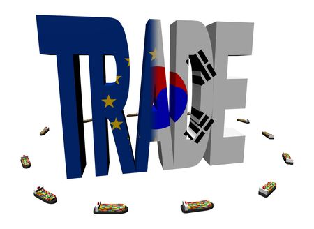 EU Korean trade with container ships illustration illustration
