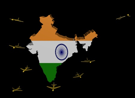 departing: planes departing India map flag illustration Stock Photo