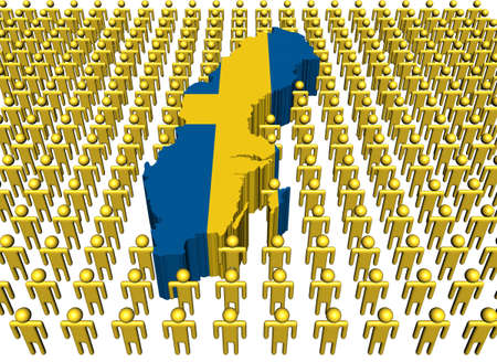 Sweden map flag with many people illustration Stock Illustration - 8635956