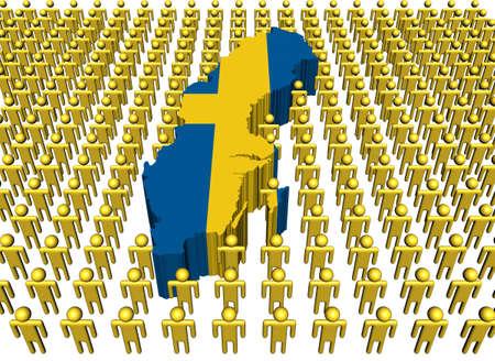 Sweden map flag with many people illustration Stock Illustration - 8635956