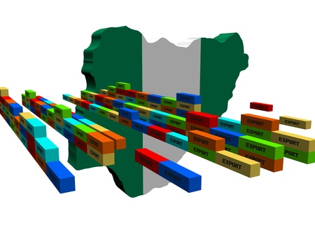 Nigeria map with stacks of export containers illustration illustration