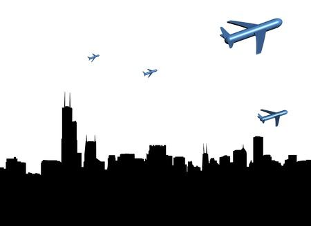abstract planes departing Chicago illustration illustration