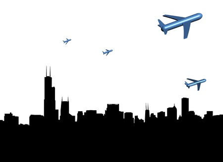 departing: abstract planes departing Chicago illustration