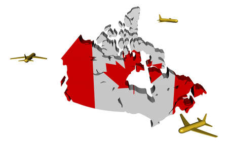 circling: planes flying around Canada map flag illustration Stock Photo
