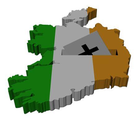 irish map: Irish election map of Ireland with ballot paper illustration