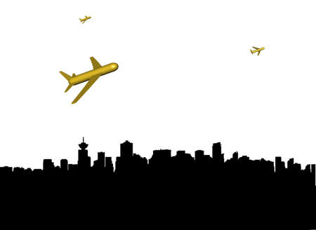 departing: abstract planes departing Vancouver illustration Stock Photo