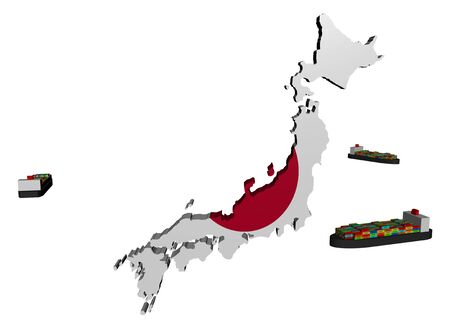 Japan map flag with container ships illustration illustration