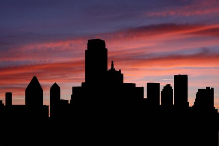 Dallas Skyline at sunset with beautiful sky illustration illustration