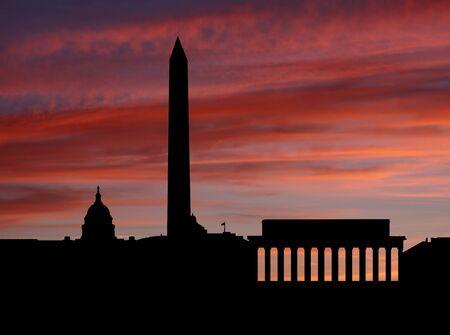 dc: Washington DC Skyline at sunset illustration