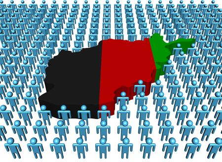 afghan: Afghan map flag with many people illustration