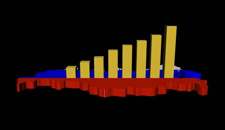 graph on Russia map flag illustration illustration