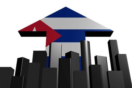 the cuban: abstract skyline and Cuban flag arrow illustration Stock Photo