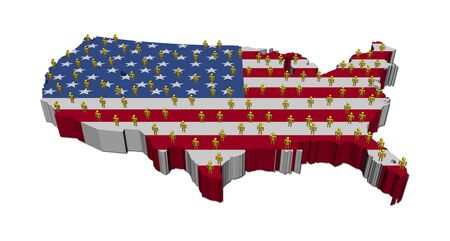 multitude: USA map flag with many abstract people illustration Stock Photo