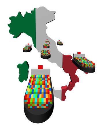 Italy map flag with container ships illustration