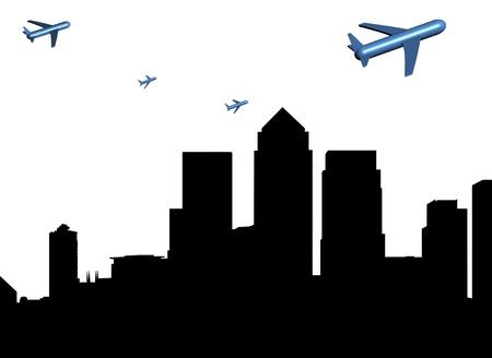 abstract planes departing Docklands illustration Stock Illustration - 8778132