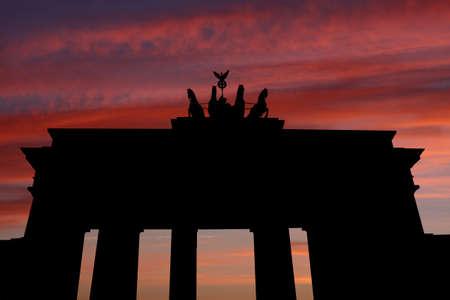 Brandenburg gate at sunset  illustration illustration