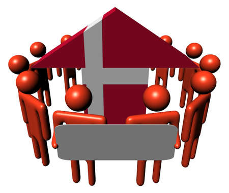 danish: people with sign around Danish flag arrow illustration