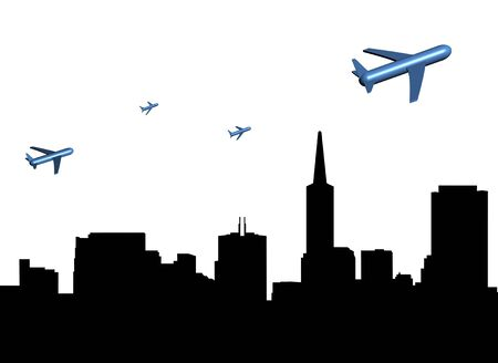 departing: abstract planes departing San Francisco illustration Stock Photo