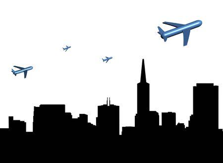 abstract planes departing San Francisco illustration illustration