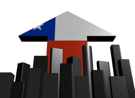 bandera chilena: skyline with Chilean flag arrow illustration