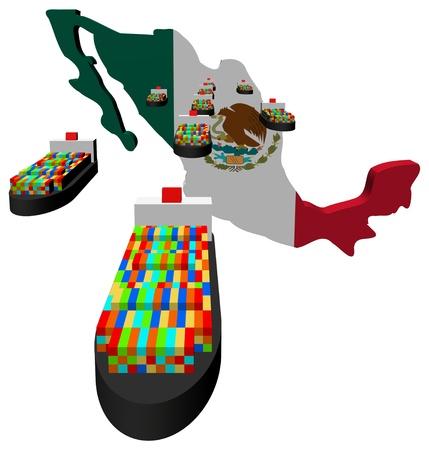 mexiko karte: Mexiko Karte Flagge mit Containerschiffe illustration