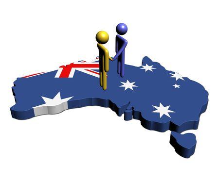 meeting on Australia map flag illustration illustration