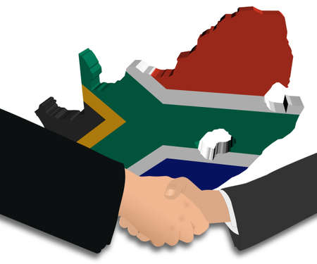 people shaking hands with South Africa map flag illustration illustration