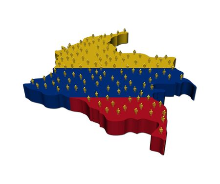 Colombia map flag with many abstract people illustration illustration