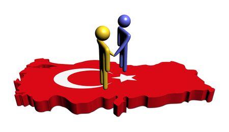 abstract people shaking hands on Turkey map flag illustration illustration