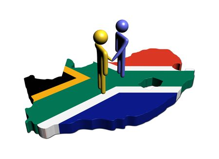 south african flag: people shaking hands on South Africa map flag