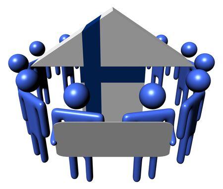 finnish: people with sign around Finnish flag arrow illustration