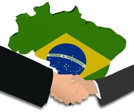 handshake with Brazil map flag illustration illustration