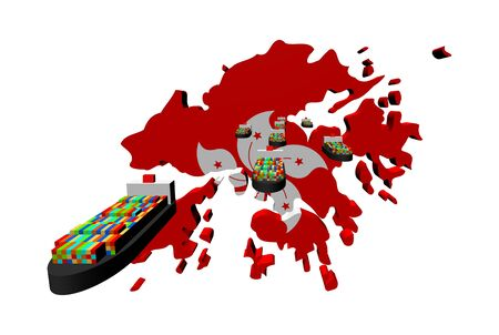 Hong Kong map flag with container ships illustration illustration