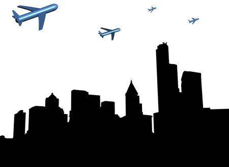 abstract planes departing Seattle illustration illustration