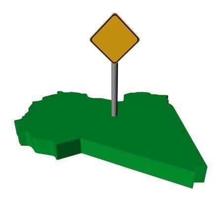 warning sign on Libya map flag illustration