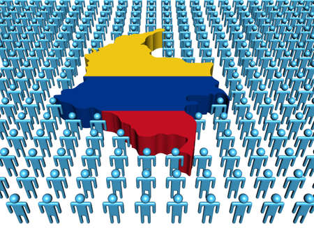 colombian: Colombia map flag with many people illustration Stock Photo