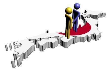 abstract people shaking hands on Japan map flag illustration illustration