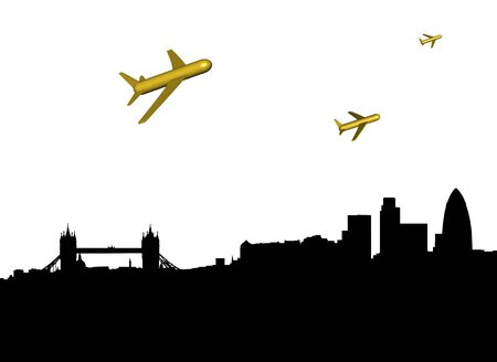 departing: abstract planes departing London illustration